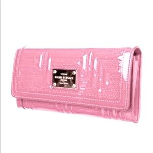 Gianni Versace Couture Bubblegum Pink Quilted Patent Leather Chain Wallet